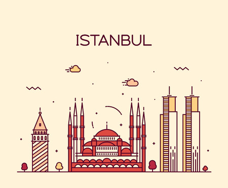 istanbul: Istanbul City skyline detailed silhouette Trendy vector illustration line art style