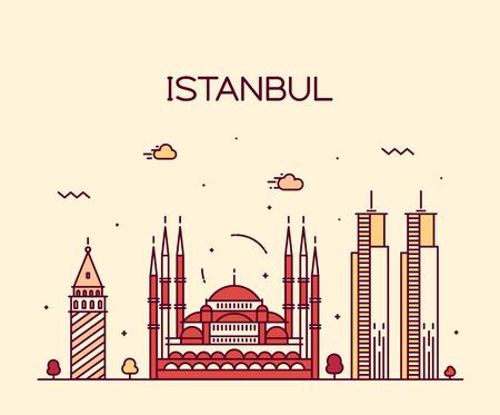 Istanbul City skyline detailed silhouette Trendy vector illustration line art style