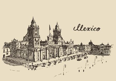 Ilustración vectorial grabado boceto dibujado a mano Catedral Metropolitana de Ciudad de México de la vendimia