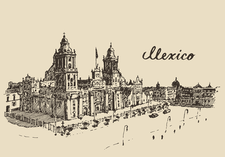 mexico: Mexico City Metropolitan Cathedral vintage engraved vector illustration hand drawn sketch