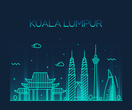 lumpur: Kuala Lumpur City skyline detailed silhouette Trendy vector illustration line art style