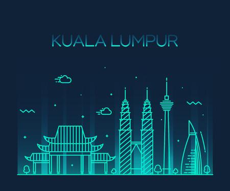skyline city: Kuala Lumpur City skyline detailed silhouette Trendy vector illustration line art style