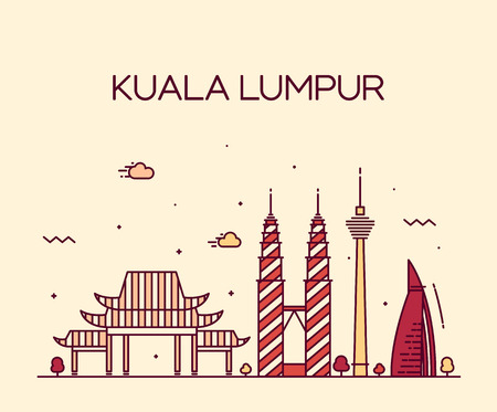 asia: Kuala Lumpur City skyline detailed silhouette Trendy vector illustration line art style