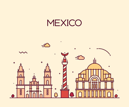 silhouette america: Mexico City skyline detailed silhouette Trendy vector illustration line art style