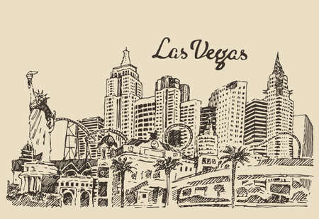 las vegas casino: Las Vegas skyline big city architecture vintage engraved vector illustration hand drawn sketch Illustration
