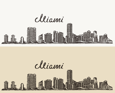 draw a sketch: Miami skyline big city architecture vintage engraved vector illustration hand drawn sketch