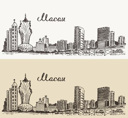 Macau skyline big city architecture vintage engraved vector illustration hand drawn sketch