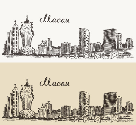 macau: Macau skyline big city architecture vintage engraved vector illustration hand drawn sketch