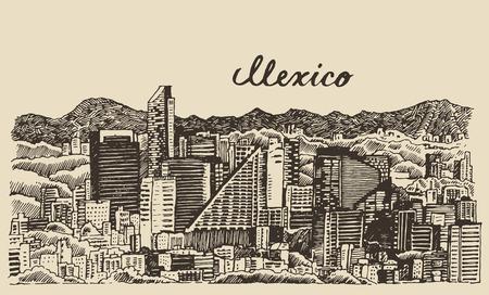 Mexico skyline big city architecture vintage engraved vector illustration hand drawn sketch