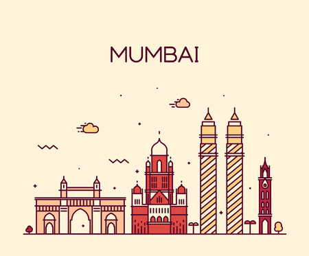 Mumbai City skyline detailed silhouette Trendy vector illustration line art style Illustration