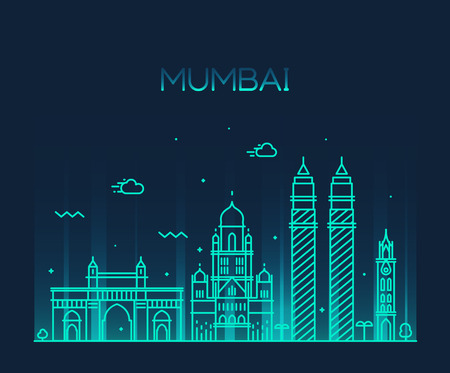 Mumbai City skyline detailed silhouette Trendy vector illustration line art style  イラスト・ベクター素材