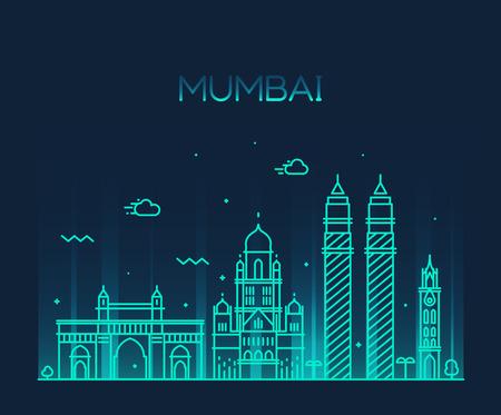 Mumbai City skyline detailed silhouette Trendy vector illustration line art style Illustration