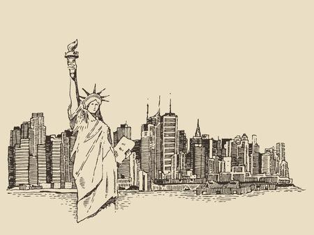 �sketch: La arquitectura de la ciudad de Nueva York con la estatua de la libertad en una ilustraci�n grabada boceto dibujado a mano vector vendimia delante Vectores