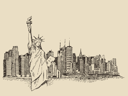 manhattan skyline: New York city architecture with Statue of Liberty on front vector vintage engraved illustration hand drawn sketch