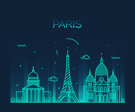 illustration line art: Paris City skyline detailed silhouette Trendy vector illustration, line art style Illustration