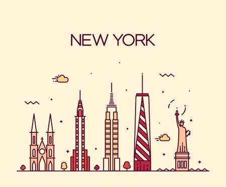 Horizonte de la ciudad de Nueva York silueta detallada de moda ilustración línea del vector del estilo del arte Vectores