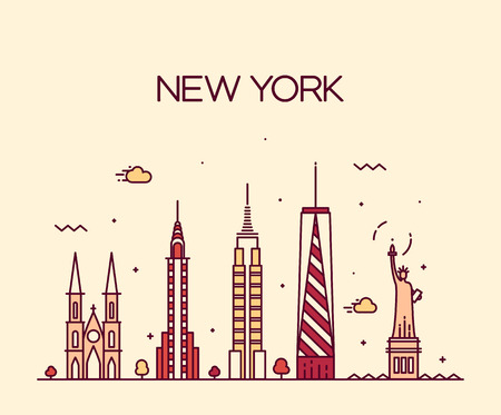 new york skyline: New York City skyline detailed silhouette Trendy vector illustration line art style Illustration