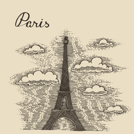 Streets in Paris France vintage engraved vector illustration hand drawn sketch