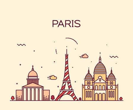 Paris City skyline detailed silhouette Trendy vector illustration, line art style Иллюстрация