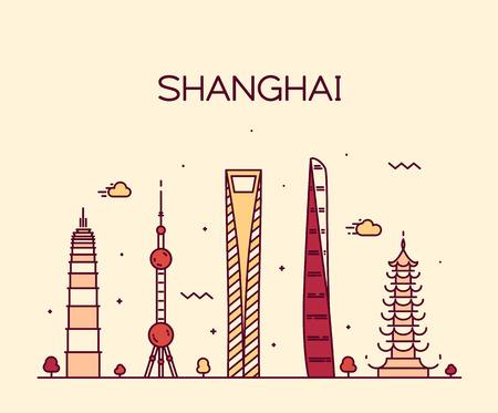 shanghai skyline: Shanghai City skyline detailed silhouette Trendy vector illustration line art style Illustration