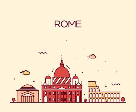 ローマ市内のスカイラインの詳細なシルエット トレンディなベクトル図では、ラインアートのスタイル