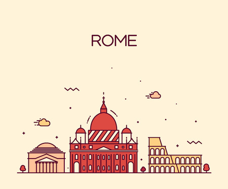 Rome City skyline detailed silhouette Trendy vector illustration, line art style Çizim