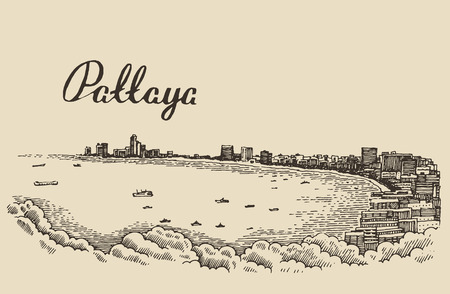 sand asia: Traditional longtail boat in Pattaya beach Thailand engraved vector illustration hand drawn sketch Illustration