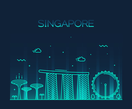 singapore building: Singapore City skyline detailed silhouette Trendy vector illustration line art style