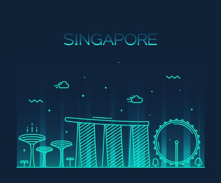 Skyline van Singapore Stad gedetailleerde silhouet Trendy vector illustratie lijn art stijl Stock Illustratie