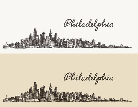 philadelphia: Philadelphia skyline big city architecture vintage engraved vector illustration hand drawn sketch