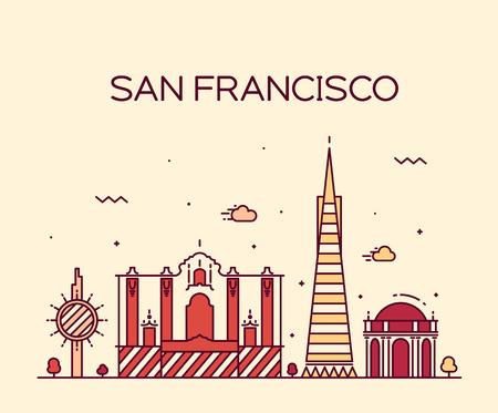 illustration line art: San Francisco City skyline detailed silhouette Trendy vector illustration line art style