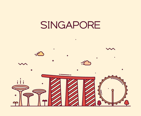 the trendy: Singapore City skyline detailed silhouette Trendy vector illustration line art style