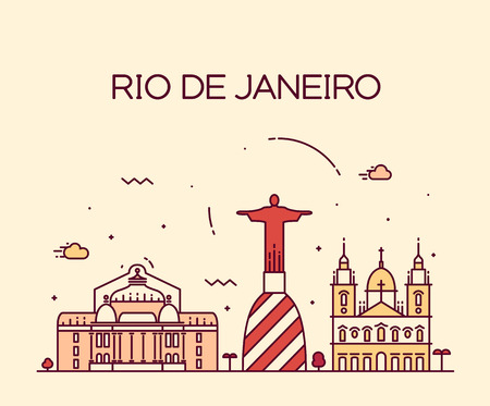 cristo: Rio de Janeiro City skyline detailed silhouette Trendy vector illustration line art style
