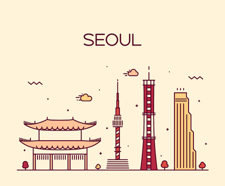 korea: Seoul City skyline detailed silhouette Trendy vector illustration line art style