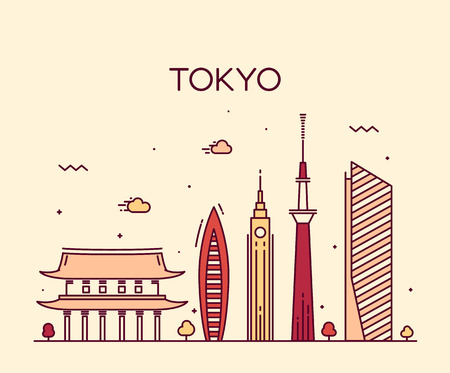 waterfront: Tokyo City skyline detailed silhouette Trendy vector illustration line art style
