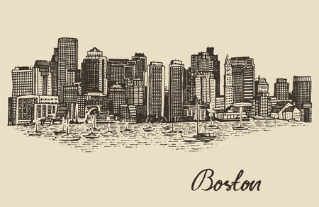 boston: Boston skyline big city architecture vintage engraved vector illustration hand drawn sketch