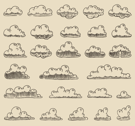 Retro clouds engraving vector illustration hand drawn sketch Illustration