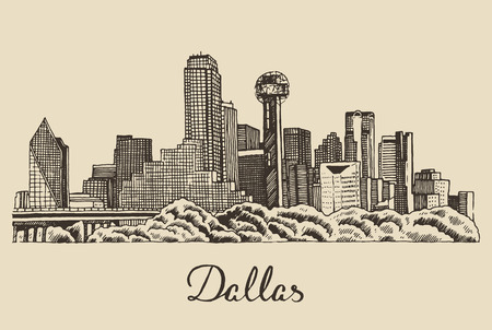 Dallas skyline big city architecture vintage engraved vector illustration hand drawn sketch Illustration