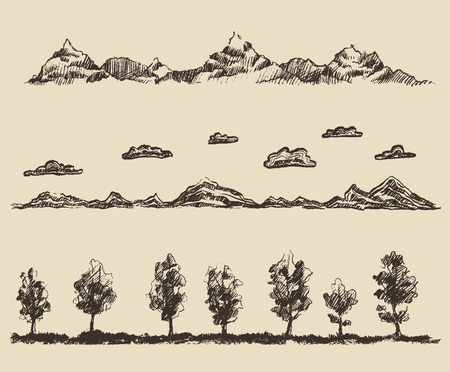 morning walk: Sunrise in mountains contours of the mountains with clouds forest design elements engraving vector illustration hand drawn sketch