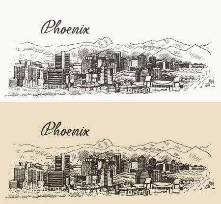 ave fenix: Ilustración vectorial grabado boceto dibujado a mano horizonte de Phoenix arquitectura gran ciudad de la vendimia