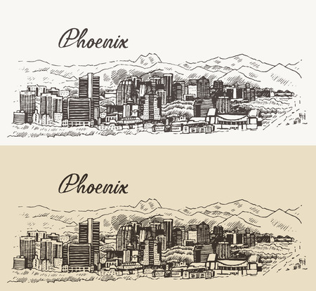 phoenix arizona: Phoenix skyline big city architecture vintage engraved vector illustration hand drawn sketch