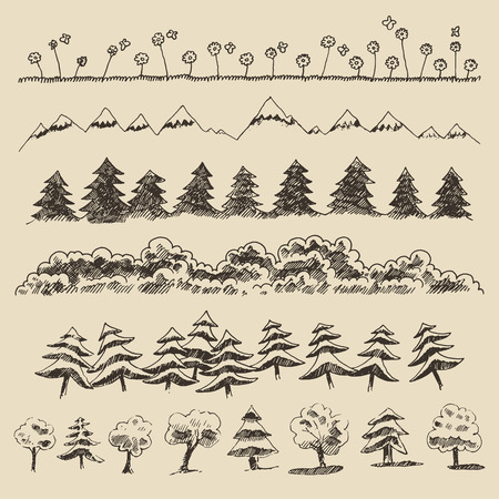 topiary: Trees sketch set, vintage vector illustration, engraved style, hand drawn