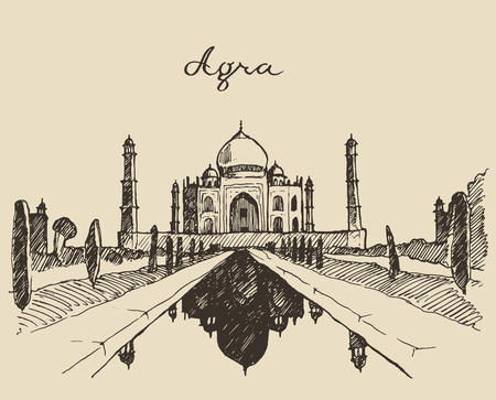 agra: The Taj Mahal located in Agra Uttar Pradesh India engraved vector illustration hand drawn sketch Illustration
