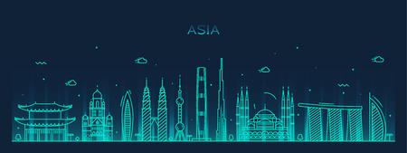 アジア スカイライン詳細シルエット トレンディなベクトル イラスト ライン アート スタイル