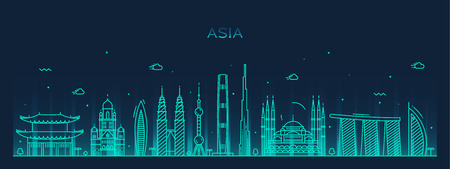 Asia skyline detailed silhouette Trendy vector illustration line art style Stok Fotoğraf - 42726541