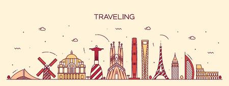 Traveling background skyline detailed silhouette Trendy vector illustration linear style Illustration