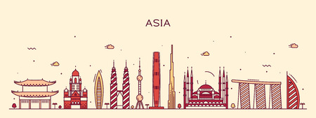 singapore: Asia skyline detailed silhouette Trendy vector illustration line art style