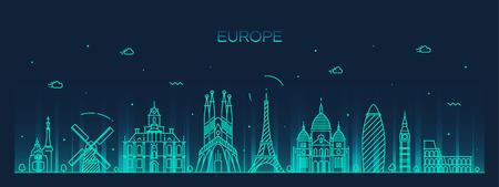 Europe skyline detailed silhouette Trendy vector illustration line art style Vectores