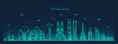 london night: Traveling background skyline detailed silhouette Trendy vector illustration linear style Illustration