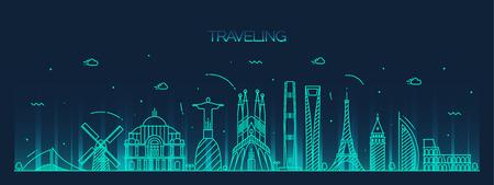 paris skyline: Traveling background skyline detailed silhouette Trendy vector illustration linear style Illustration